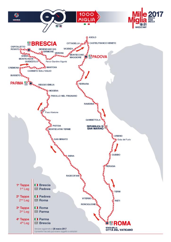 Percorso corsa 1000 Miglia 2017